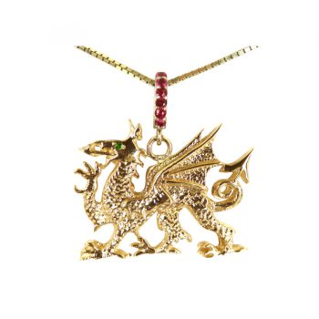 14K Gold Celtic Dragon Pendant with Ruby Bail and Emerald Eye