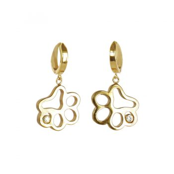 14K Gold Open Paw Earrings with Diamond Accent (Medium Size)