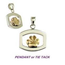 14K Gold Stylized Dog Paw in Open Sterling Silver Rectangle Pendant
