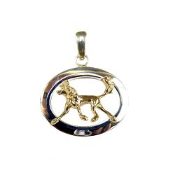 Chinese Crested in Narrow Oval with Sterling Silver or 14K Gold - Rear View