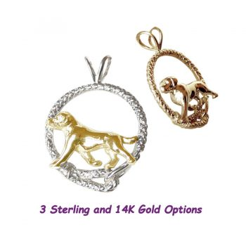 Trotting Labrador Retriever in Leash; 14K Gold, Sterling and Combo options