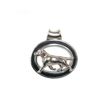 Sterling Silver Large Trotting Labrador Retriever in Enhancing Black Grooved Oval