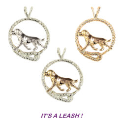 Labrador Retriever Trotting in Leash with14K Gold or Sterling Silver Combos