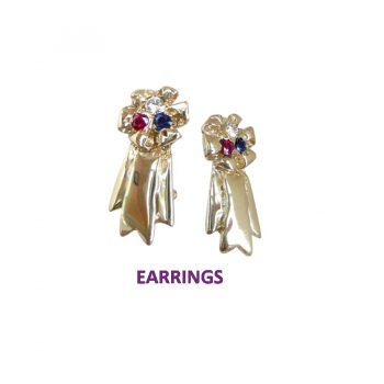 14K Gold Best in Show Earrings with Cluster of Diamond, Ruby, and Sapphire