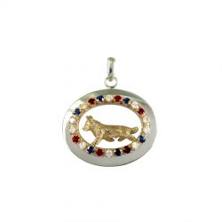 Sterling Oval Enhanced with 14K Gold Best in Show Gemstone Oval and Finished with a 3D Sculpture of YOUR Breed
