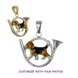 14K Gold or Sterling Beagle with Custom Enamel in Hunting Horn