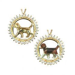 14K Gold Trotting Beagle in All Diamond or Gemstone Circle -- 6 Choices