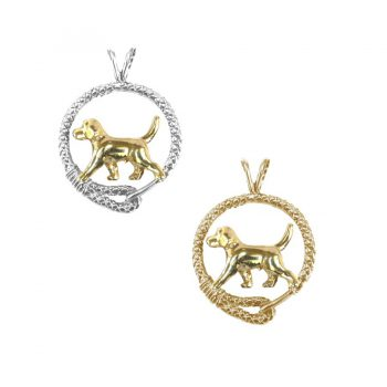 Beagle Trotting in Leash, 3 Gold and Sterling Options