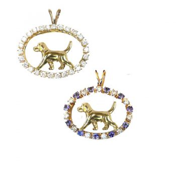 ONE of a KIND 14K Gold Beagle in Tanzanite and Diamond Oval or 5 other Gemstone choices