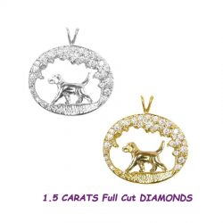 14K Gold Beagle Trotting in Scene with 1.5 carats diamonds
