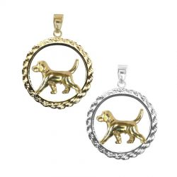 Trotting Beagle in Traditional Rope with 3 Options in 14K Gold and Sterling Silver