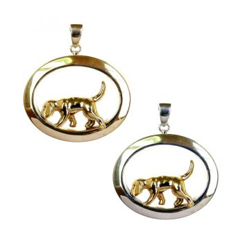 Tracking Beagle in Wide Glossy Oval with 3 Options in 14K Gold and Sterling Silver