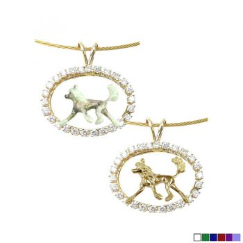 ONE of a KIND 14K Gold Chinese Crested in Diamond Oval