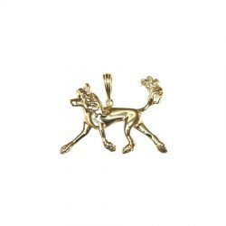 14K Gold or Sterling Silver Extra Large FLAT Trotting Chinese Crested Pendant
