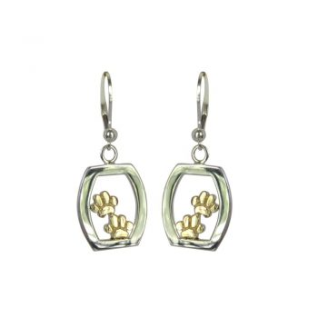 Fabulous 14K Gold and Sterling Earrings Featuring a Rounded Rectangle with Double Paws