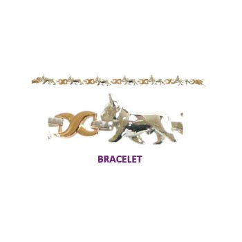 French Bulldog X-Link Bracelet with 3 options in 14K Gold or Sterling Silver