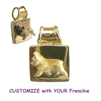 Exquisite Custom Enamel French Bulldog on 14K Gold or Sterling Square