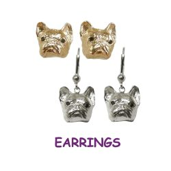 14K Gold or Sterling French Bulldog Earrings with Black Diamond Eyes