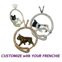Fabulous Enamel French Bulldog in Leash; Personalize with YOUR photo