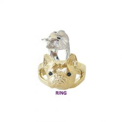 14K Gold or Sterling Silver French Bulldog Ring with Black Diamond Eyes