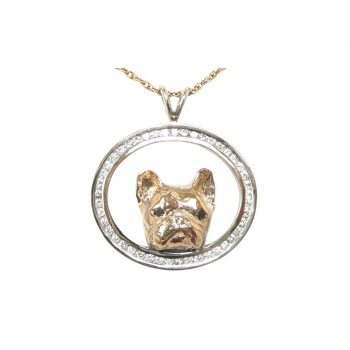 14K White and Yellow Gold Magnificent French Bulldog Pendant with Diamonds