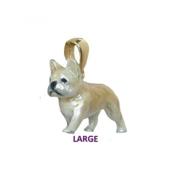 14K Gold or Sterling Large French Bulldog with Custom Enamel Overlay