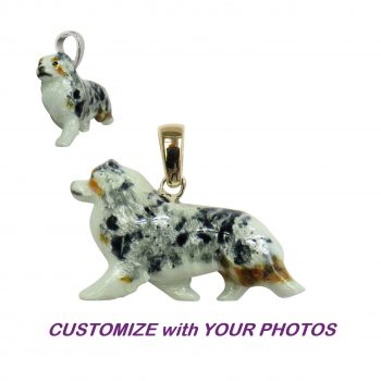 14K Gold or Sterling Large Australian Shepherd with Personalized Enamel Overlay