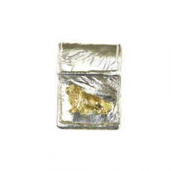 14K Gold Cavalier King Charles Spaniel on Handmade Textured Fold-over Pendant - Rear View