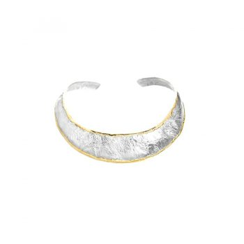 Handmade Sterling Textured Collar with 14K Fusion Edging - Featured