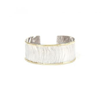 Handmade Sterling Cuff Bracelet with 14K Fusion Edging - Featured