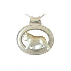 Sterling Silver French Bulldog in Grooved Oval - Featured