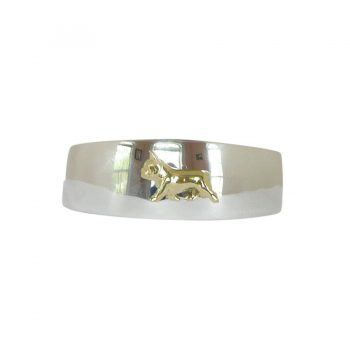 French Bulldog Cuff Bracelet in Sterling and 14K Gold -Featured View