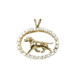 ONE of a KIND 14K Gold Labrador Retriever in Diamond Oval - Featured