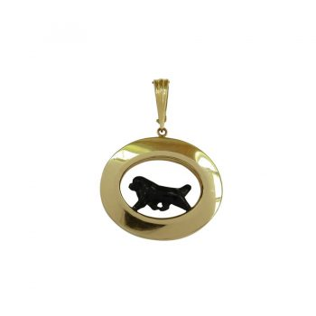 14K Gold or Sterling Medium Glossy Oval Highlighting our Newfoundland with Personalized Enamel Artwork