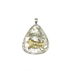 14K Gold Newfoundland on Handmade Sterling Textured Teardrop