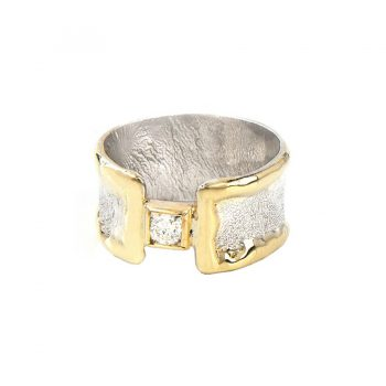 Handmade Sterling Textured Ring with 1/4 Carat Diamond and 14K Fusion Edging - Featured View