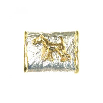 14K Gold Wire Fox Terrier on Handmade Textured Loop Pendant with 14K Fusion Edging - Featured View