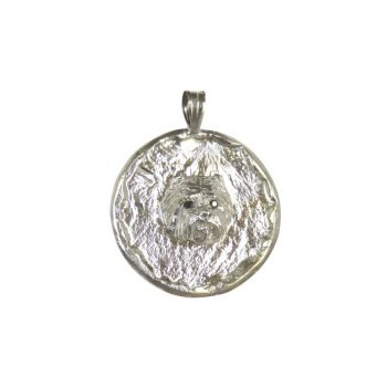All Sterling Handmade Textured Circle with Westie Head - Right Side