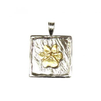 Hand Made 14K Gold Paw on Textured Square Charm