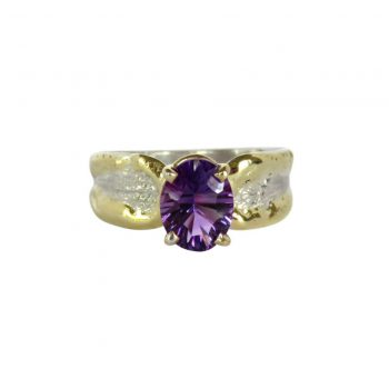 Hand Made 14K and Sterling Ring with Optix Cut Gemstone