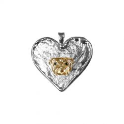 14K Gold Bulldog Head on Hand Made Textured Heart
