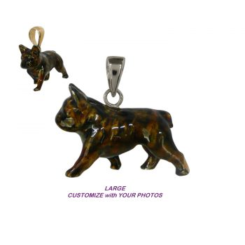 14K Gold or Sterling Silver Large Trotting French Bulldog with Custom Enamel Artwork