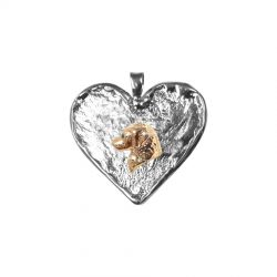 14K Gold Golden Retriever on Hand Made Textured Heart