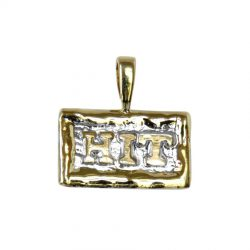 14K Gold HIT on Hand Made Textured Rectangle 14K Gold HIT on Hand Made Textured Rectangle with 14K Fusion Edgingwith 14K Fusion Edging