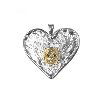 14K Gold Westie Head on Hand Made Textured Heart