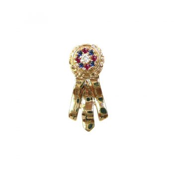 14K Gold Best in Show Ribbon with Rosette Cluster Featuring Diamond, Rubies, and Sapphires