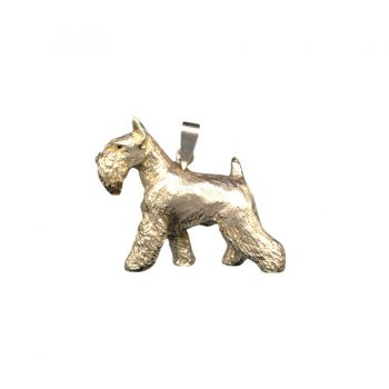 14K Gold or Sterling Silver Large Trotting Miniature Schnauzer Pendant