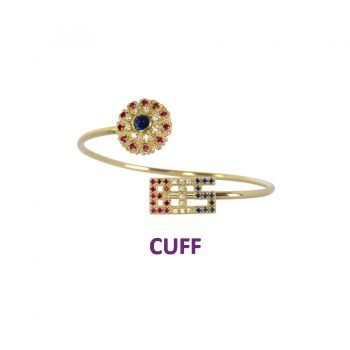 14K Gold Best in Show Cuff Bracelet with Gemstone Rosette and BIS