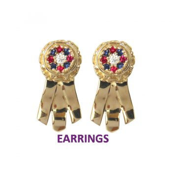 14K Gold Best in Show Ribbon Earrings with Stunning Rosette Top