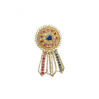 14K Gold Large Best in Show Ribbon with Gemstone Rosette